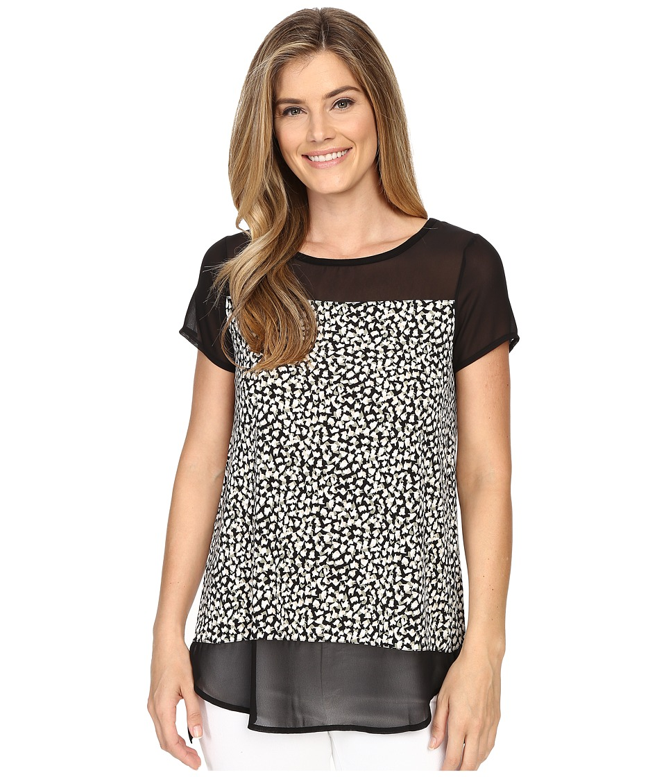 Vince Camuto - Short Sleeve Shadow Forms Mix Media Top (Rich Black) Women's Blouse
