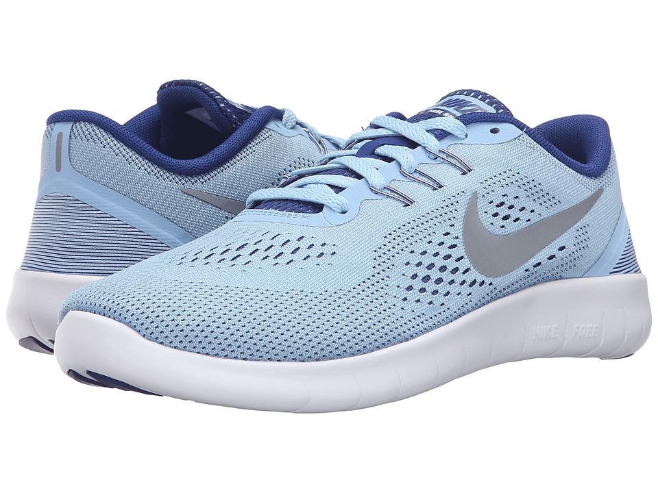 Nike Kids - Free RN (Big Kid) (Bluecap/Deep Royal Blue/White/Metallic Silver) Girls Shoes