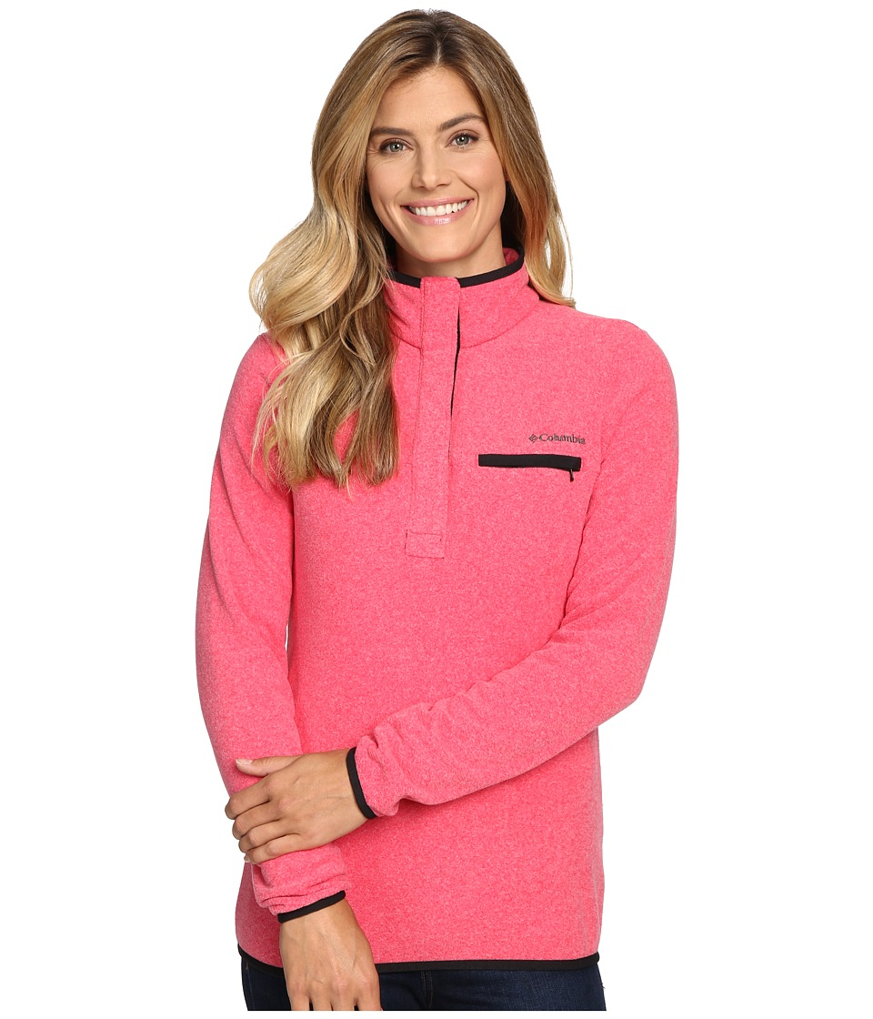 Columbia - Mountain Side Pullover (Punch Pink Heather) Women's Long Sleeve Pullover