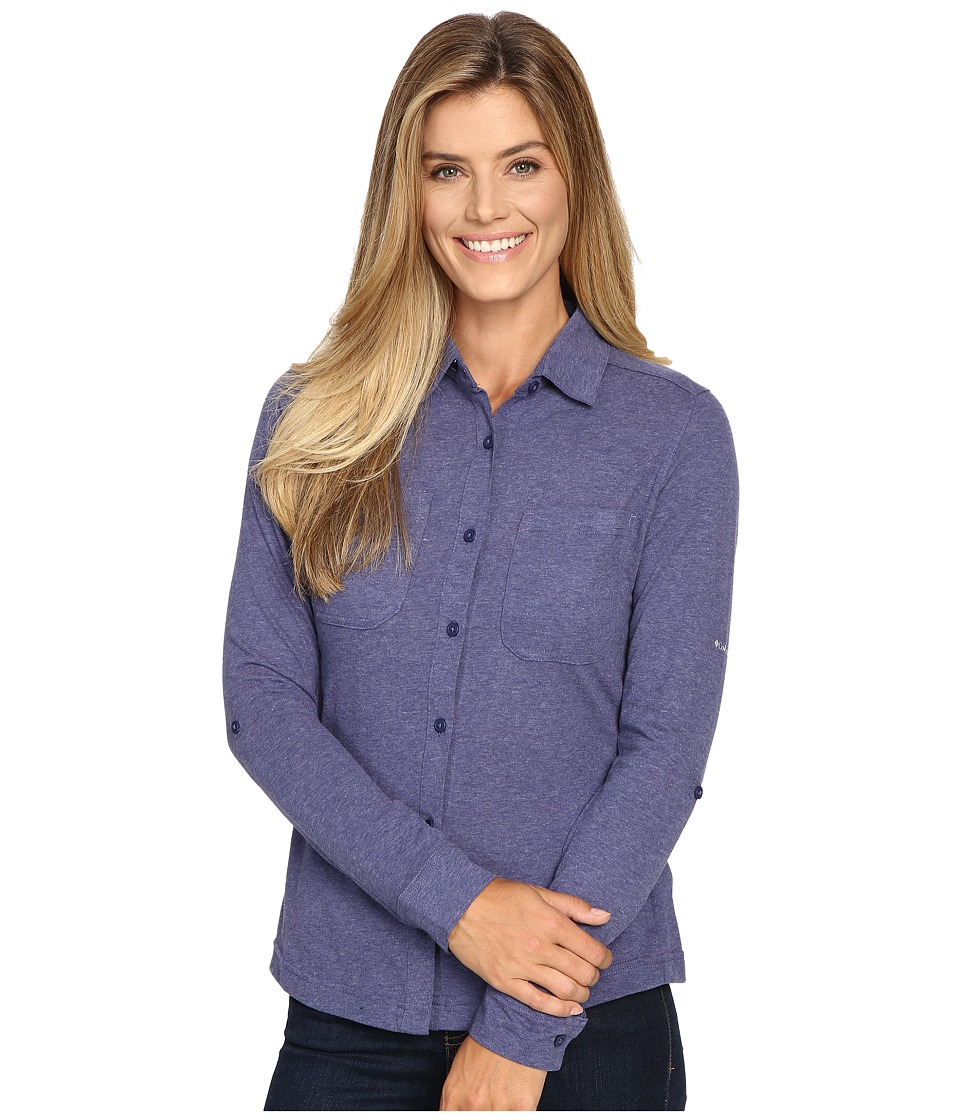Columbia - Saturday Trail Knit Long Sleeve Shirt (Nightshade Heather) Women's Long Sleeve Button Up