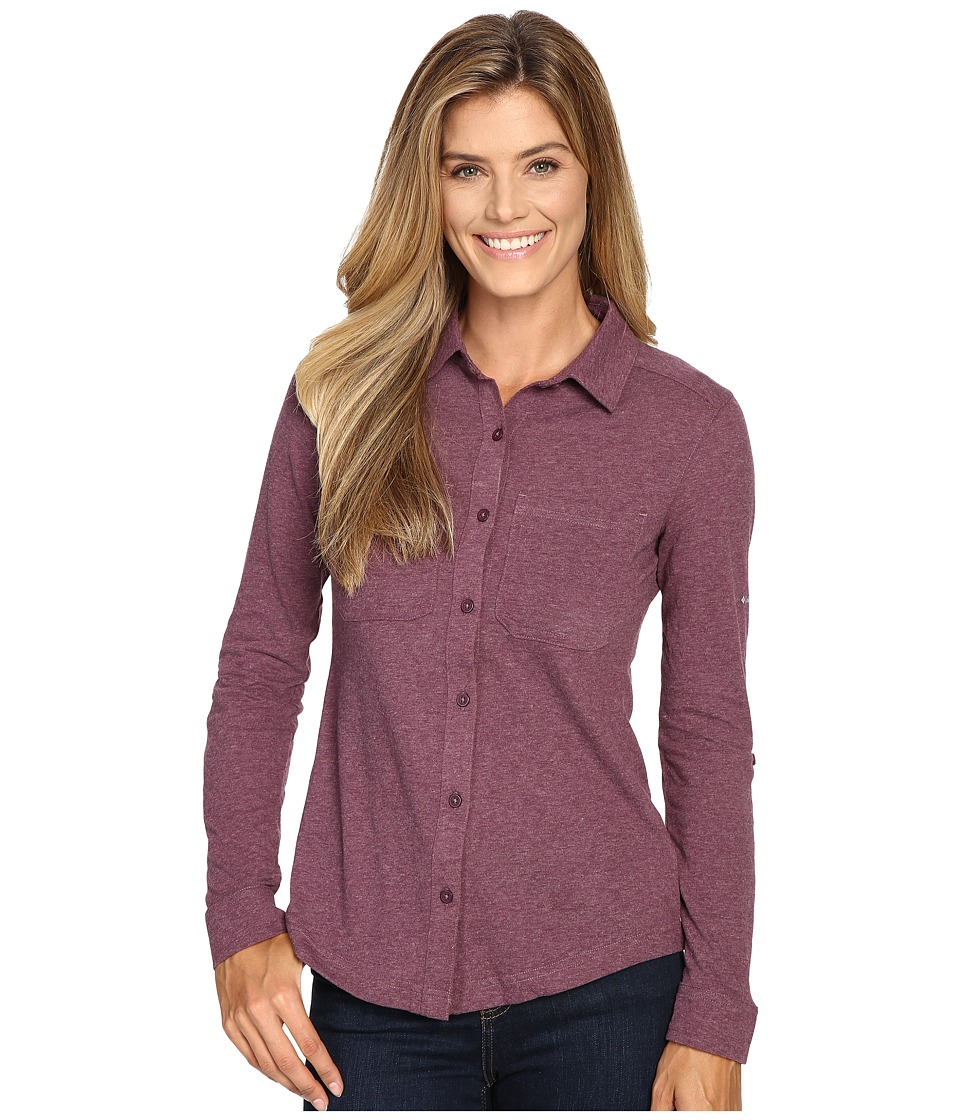 Columbia - Saturday Trail Knit Long Sleeve Shirt (Purple Dahlia Heather) Women's Long Sleeve Button Up
