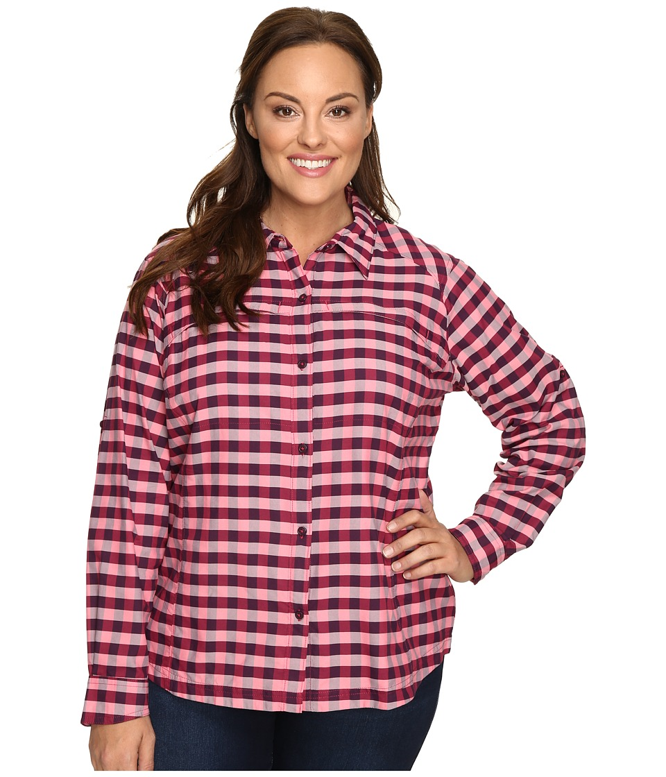 Columbia - Plus Size Silver Ridge Plaid Long Sleeve Shirt (Punch Pink Twill) Women's Long Sleeve Button Up