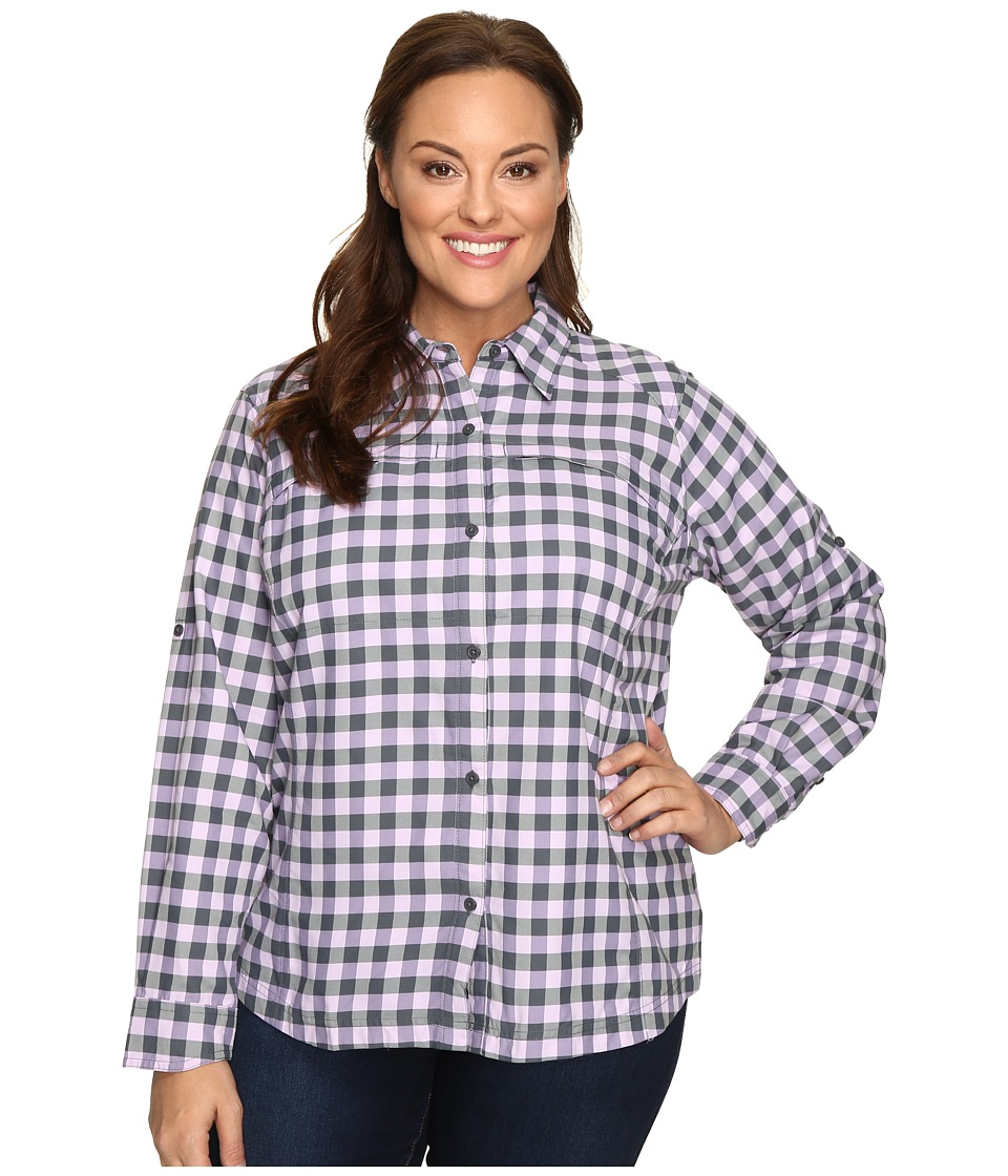 Columbia - Plus Size Silver Ridge Plaid Long Sleeve Shirt (Graphite Twill) Women's Long Sleeve Button Up