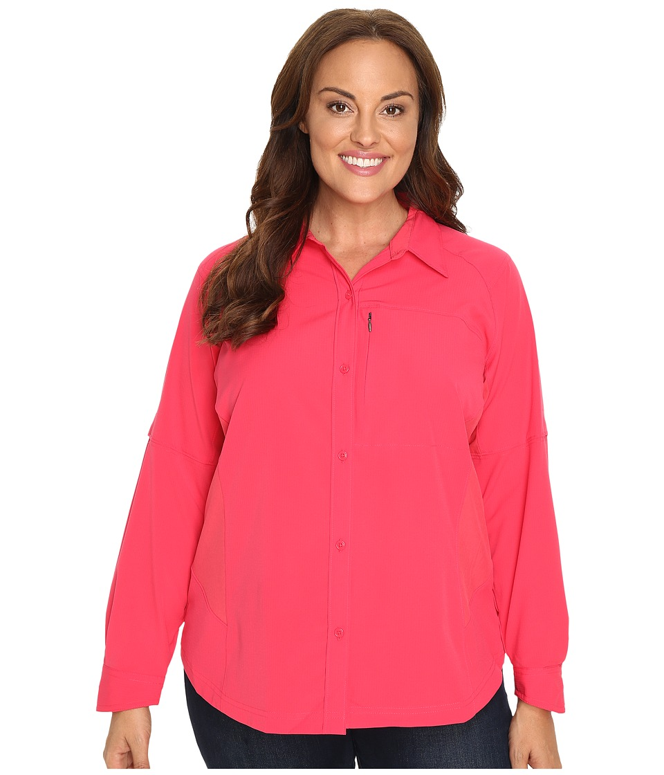 Columbia - Plus Size Silver Ridge L/S Shirt (Punch Pink) Women's Long Sleeve Button Up