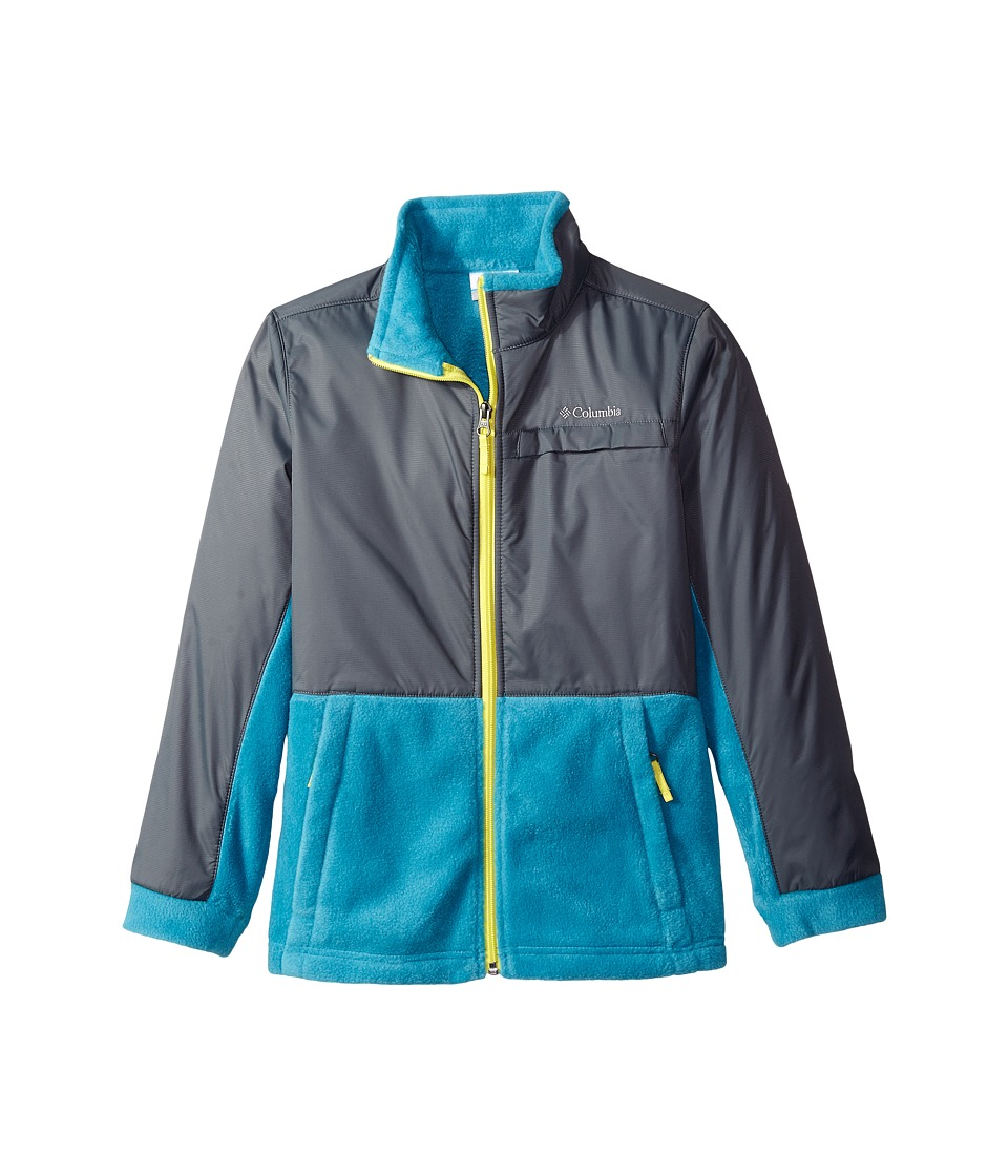 Columbia Kids - Steens Mountain Overlay (Little Kids/Big Kids) (Deep Marine/Graphite/Acid Yellow Zipper) Boy's Coat