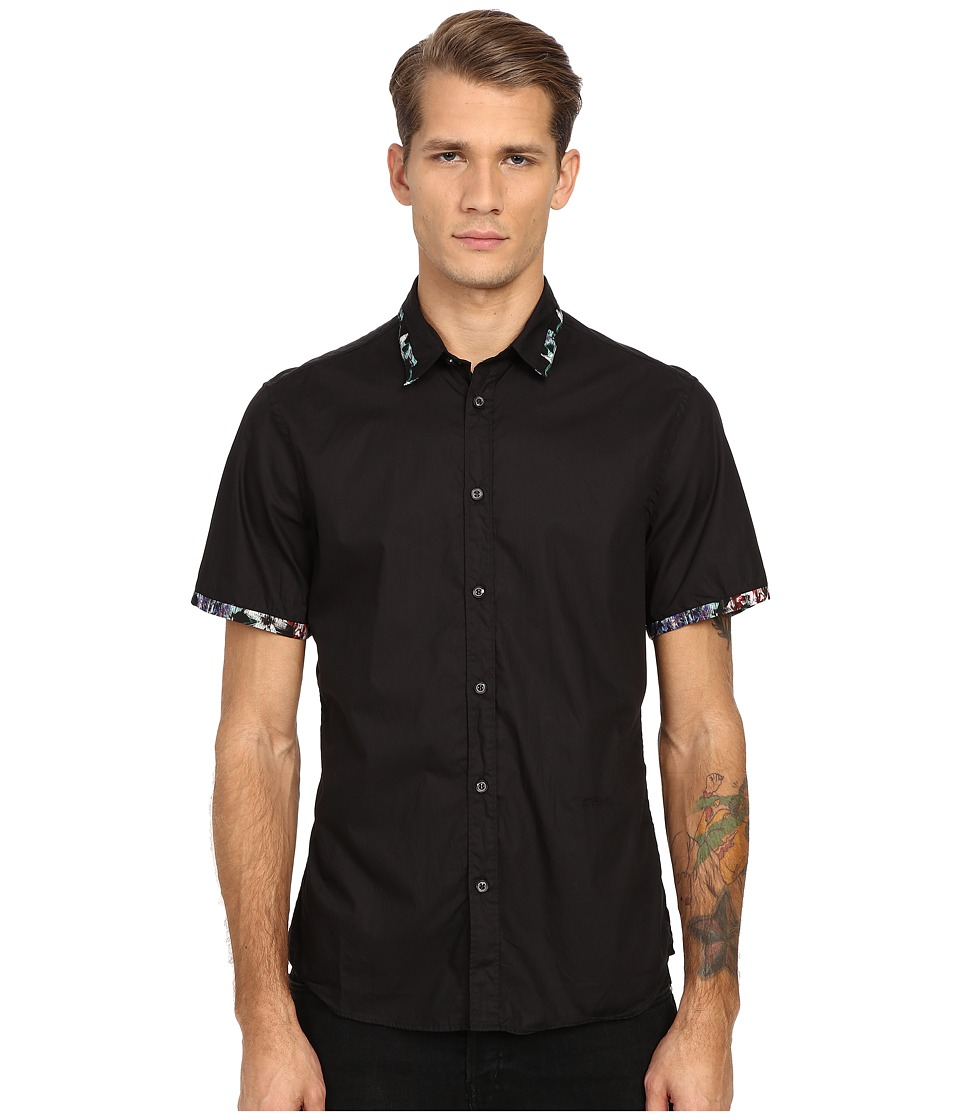 Just Cavalli - Short Sleeve Woven Crinkle Effect and Print Trim (Black 2) Men's Short Sleeve Button Up