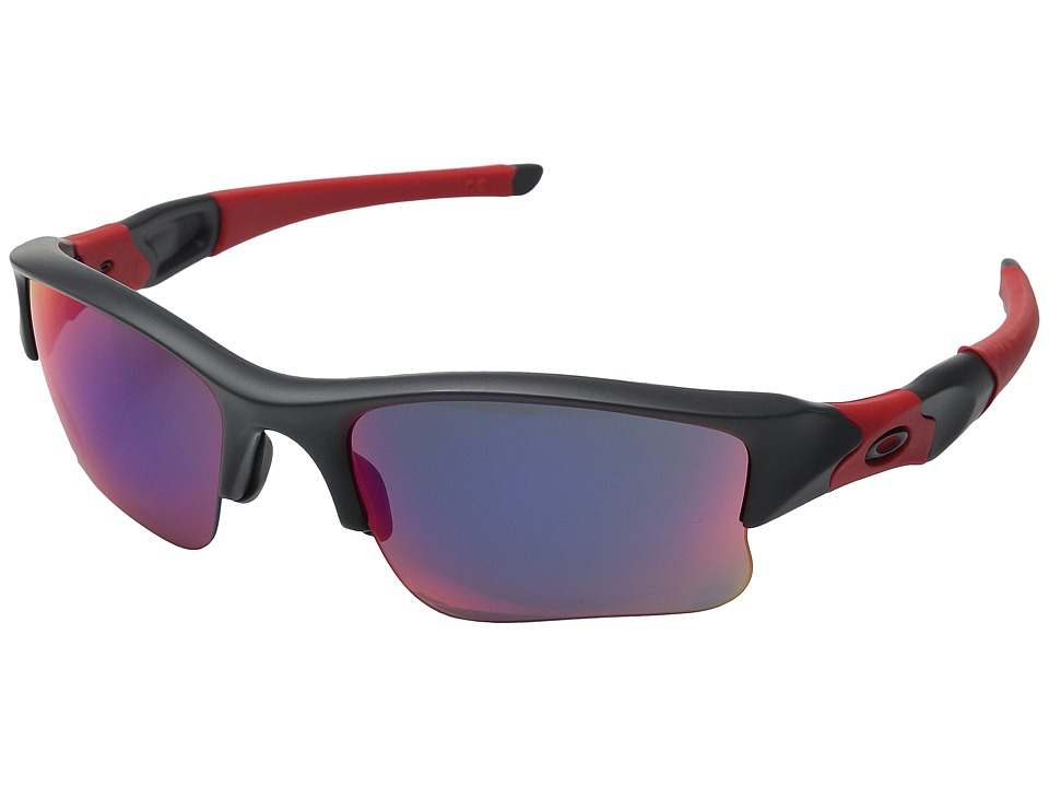 Oakley - Flak Jacket XLJ (Dark Grey/Red Iridium) Sport Sunglasses
