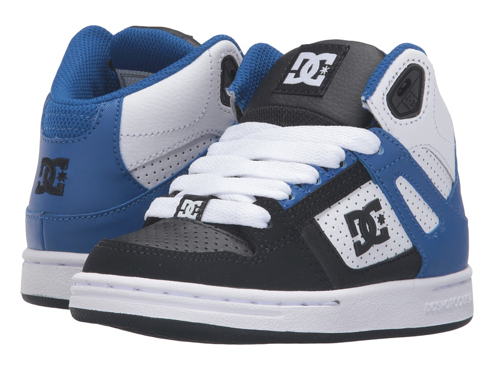DC Kids - Rebound (Little Kid) (Black/White/Blue) Boys Shoes