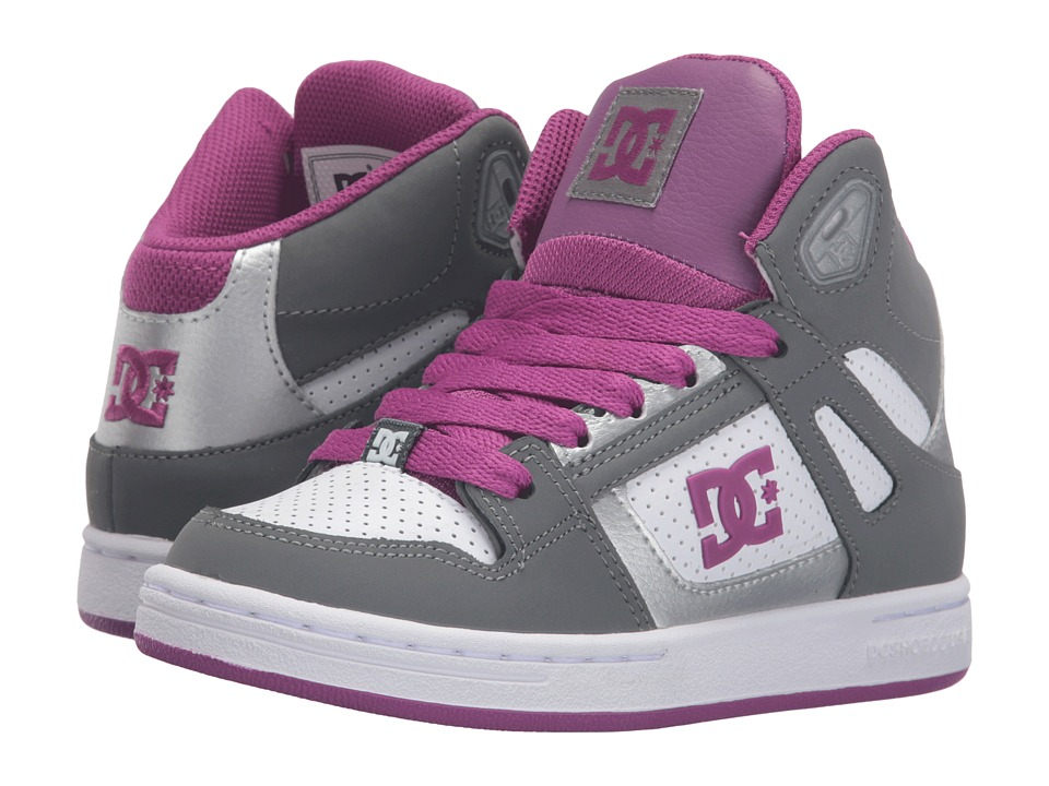 DC Kids - Rebound (Little Kid) (Light Grey/Purple) Girls Shoes