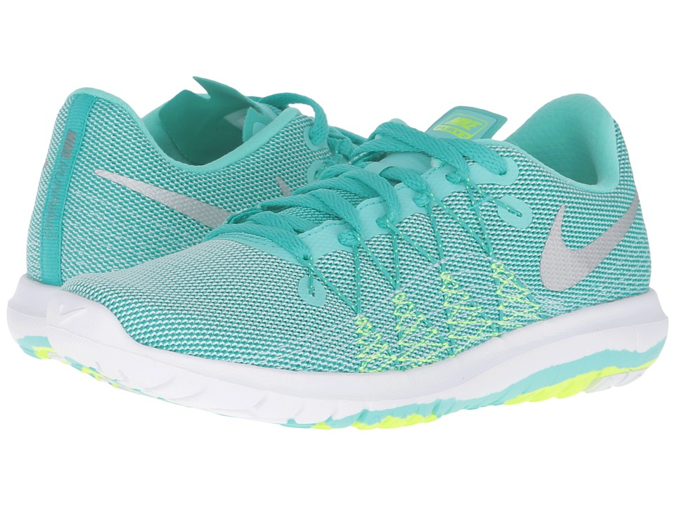 Nike Kids - Flex Fury 2 (Big Kid) (Clear Jade/Volt/White/Metallic Silver) Girls Shoes