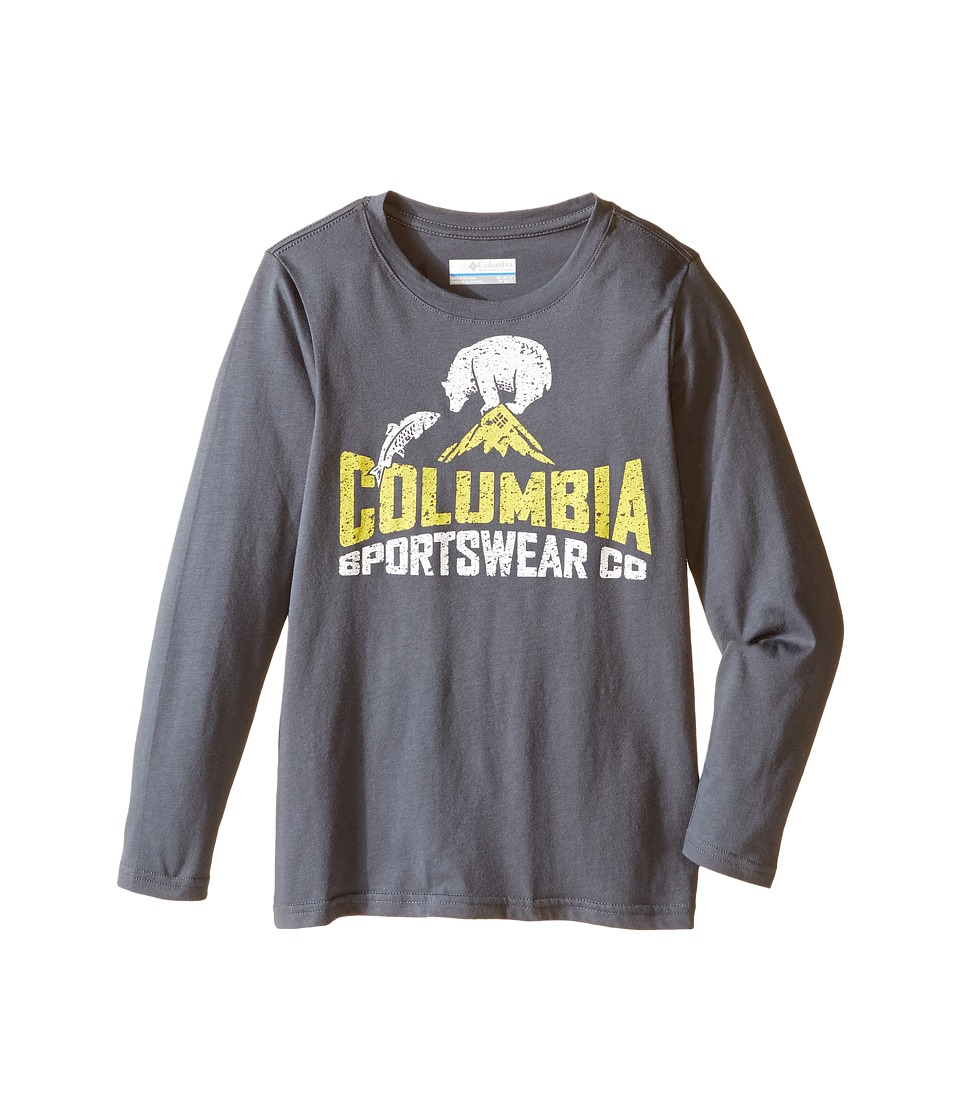 Columbia Kids - CSC Bear N' Fish Long Sleeve Shirt (Little Kids/Big Kids) (Graphite) Boy's Long Sleeve Pullover