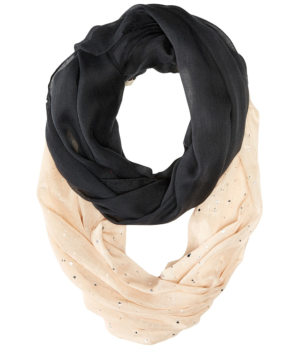 Betsey Johnson - Color Block Foil Crinkle Loop Scarf (Black) Scarves