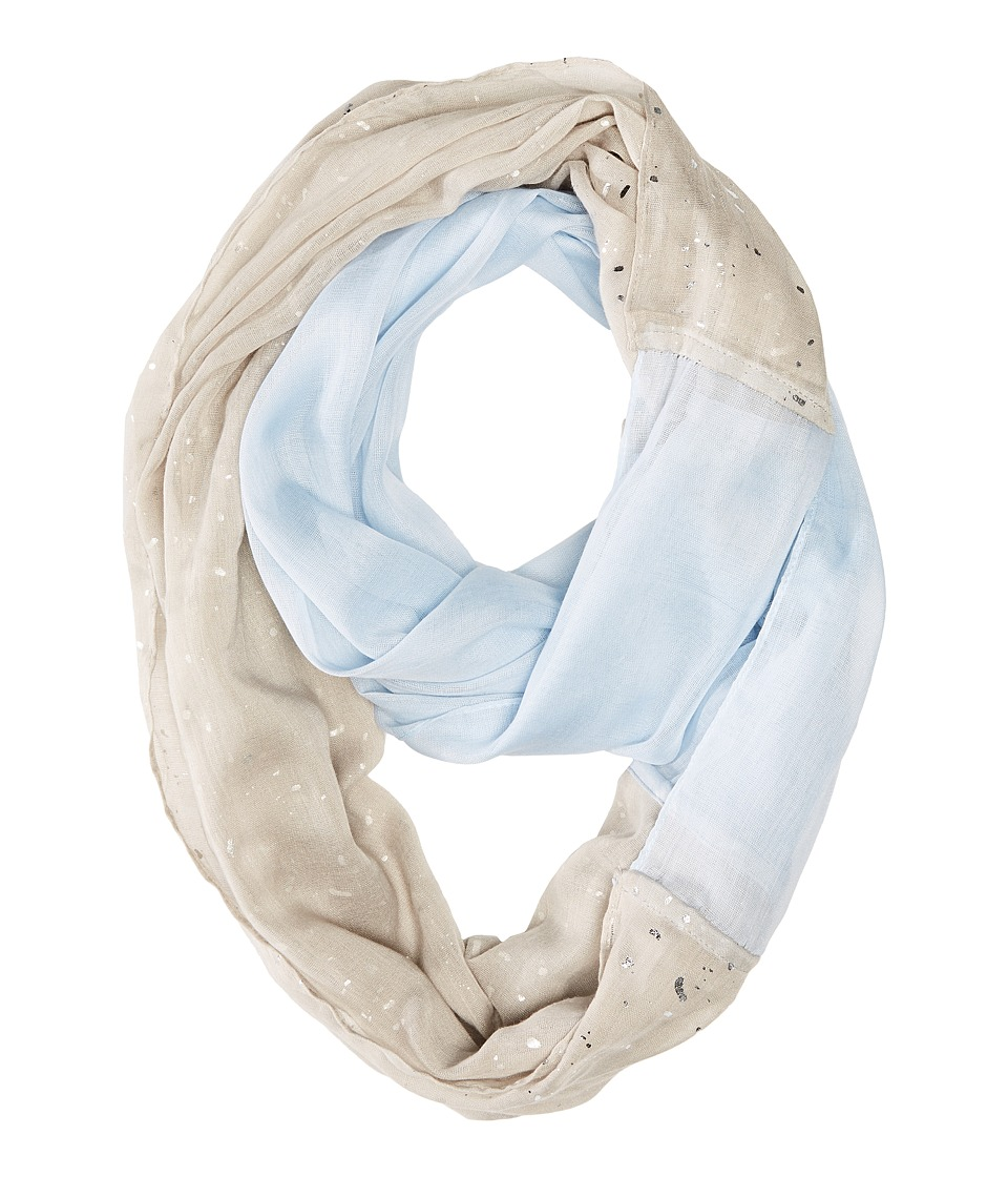 Betsey Johnson - Color Block Foil Crinkle Loop Scarf (Denim) Scarves