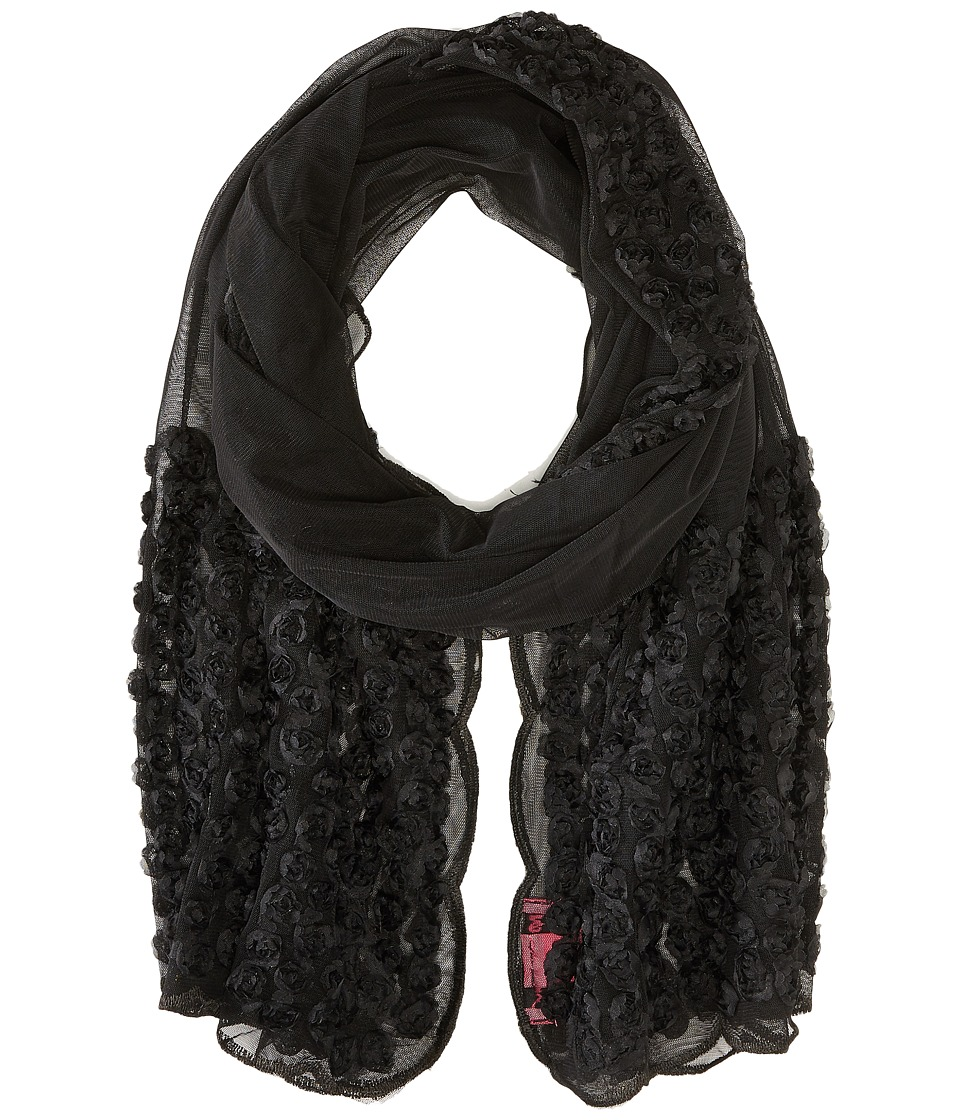 Betsey Johnson - By A Rose Border Knit Wrap (Black) Scarves