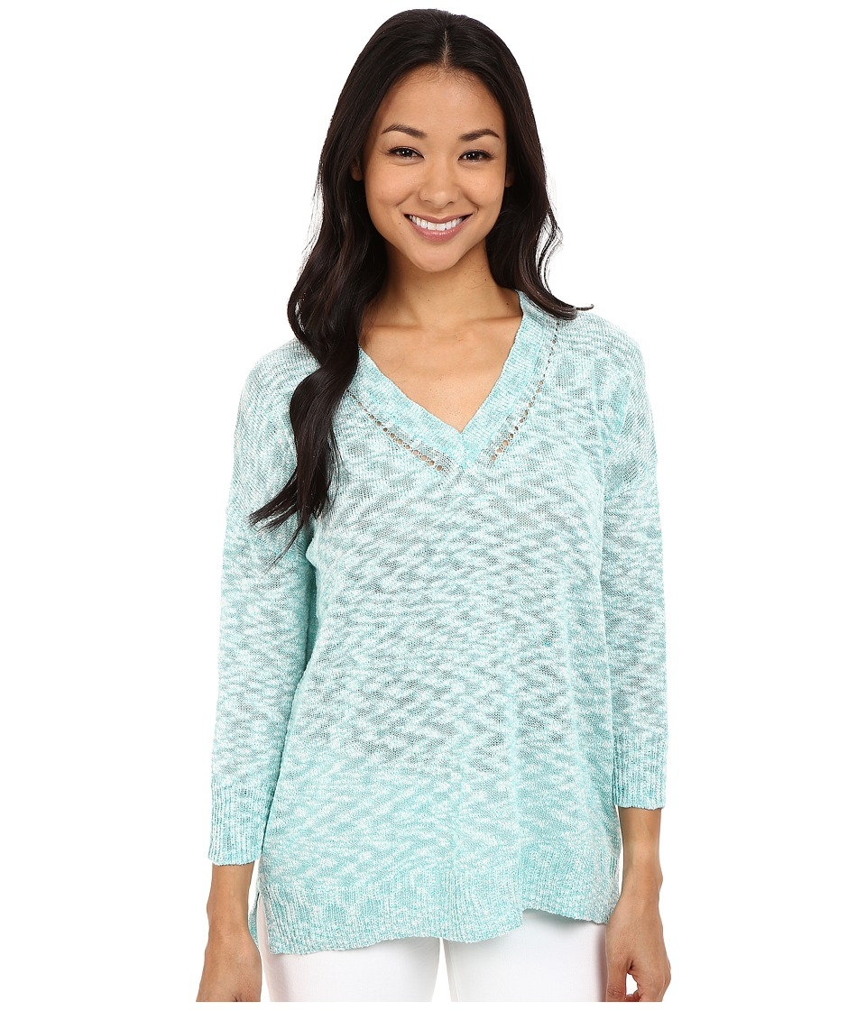 Lilla P - Cotton Slub 3/4 Sleeve Oversized V-Neck (Bermuda Slub) Women's Clothing
