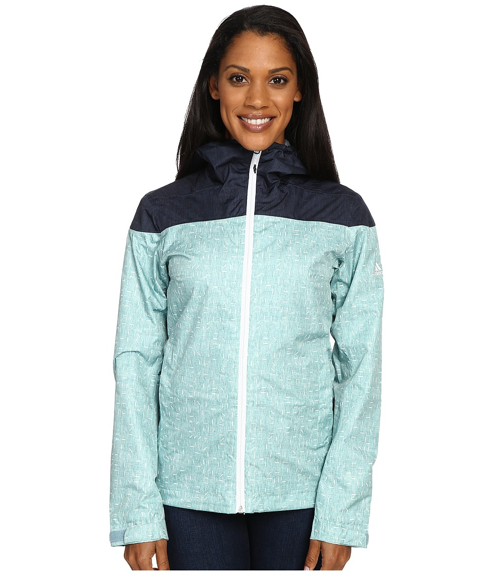adidas Outdoor - Wandertag Jacket Print (Vapour Steel/Mineral Blue) Women's Coat
