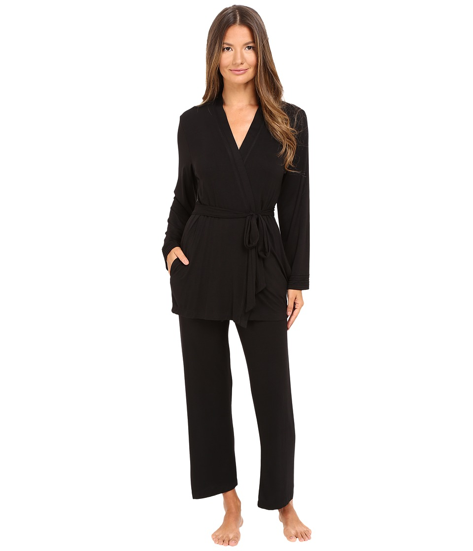 Oscar de la Renta - Luxe Jersey Three-Piece Pajama (Black) Women's Pajama Sets
