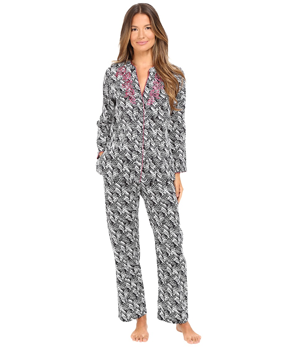 Oscar de la Renta - Printed Cotton Sateen Pajama (Black/White Herrinbone Stripe) Women's Pajama Sets