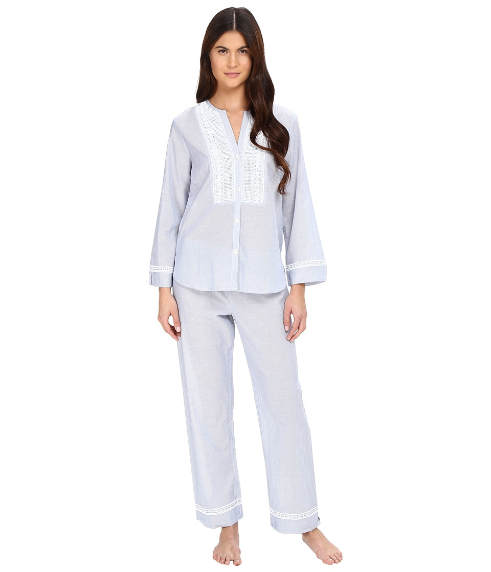 Oscar de la Renta - Yarn Dye Stripe Cotton Woven Pajama (White/Blue Stripe) Women's Pajama Sets