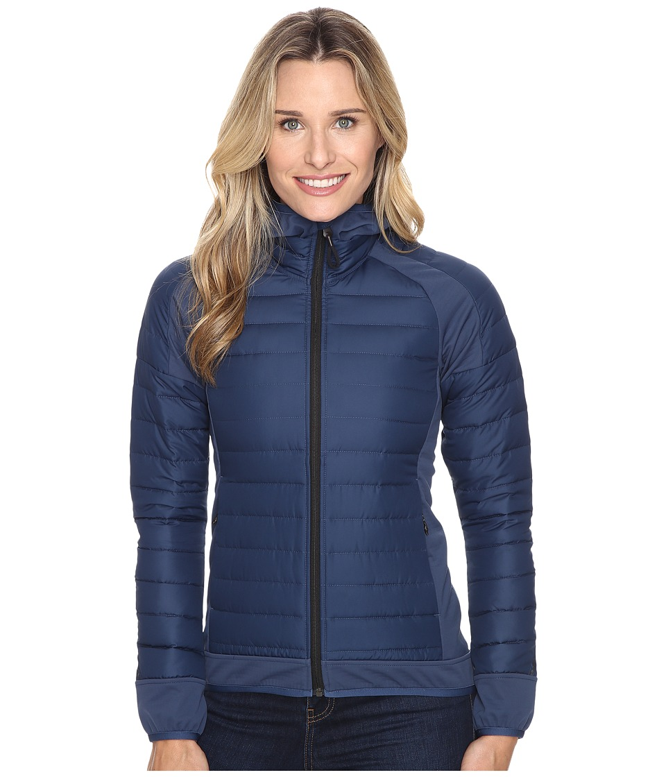 adidas Outdoor - Hybrid Down Hooded Jacket (Mineral Blue) Women's Coat