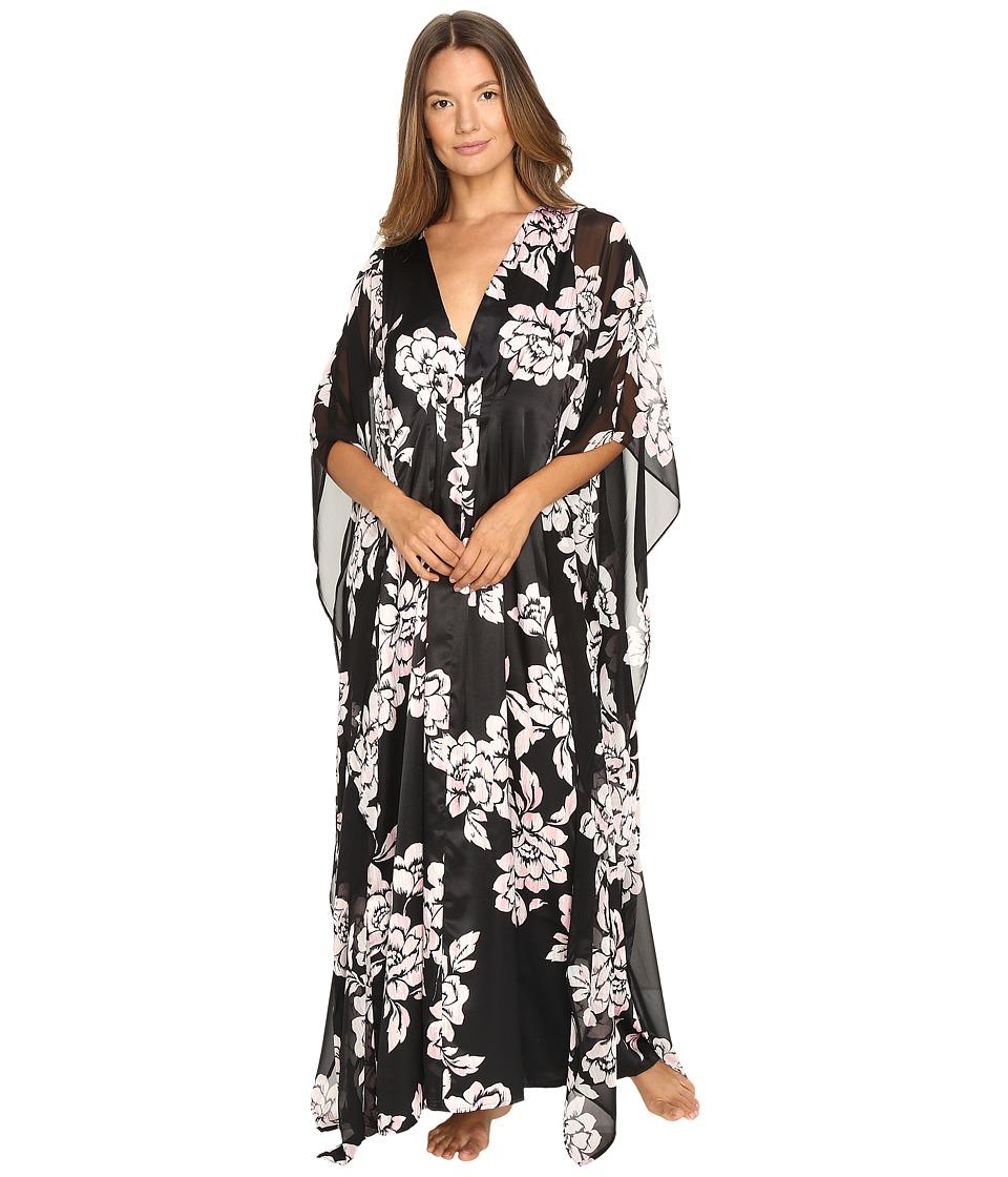 Oscar de la Renta - Printed Silky Charmuese Georgette Caftan (Black/Pink Brush Accent Floral) Women's Pajama