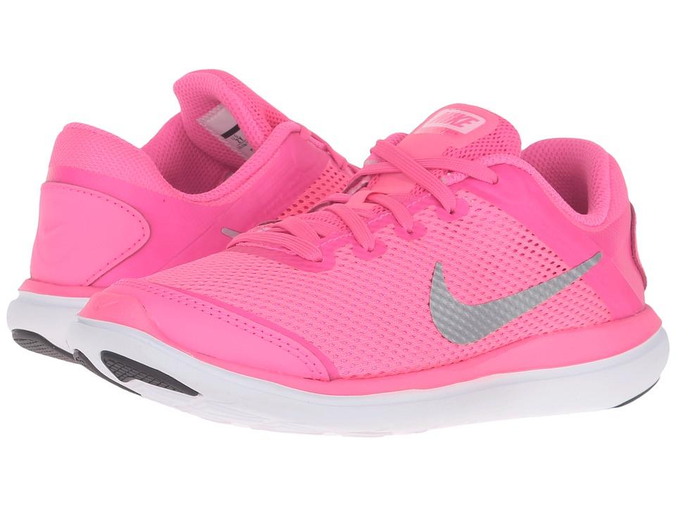 Nike Kids - Flex 2016 RN (Little Kid) (Pink Blast/Black/Hyper Pink/Metallic Silver) Girls Shoes