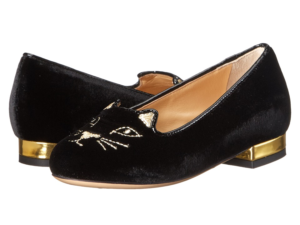 Charlotte Olympia - Incy Kitty Flats (Toddler/Little Kid) (Black/Gold Velvet/Metallic Calf) Women's Flat Shoes