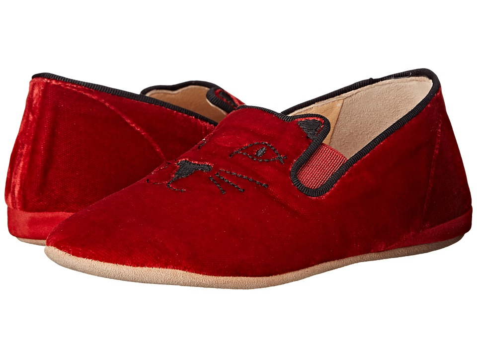 Charlotte Olympia - Kitten (Toddler) (Red Velvet/Suede) Women's Flat Shoes