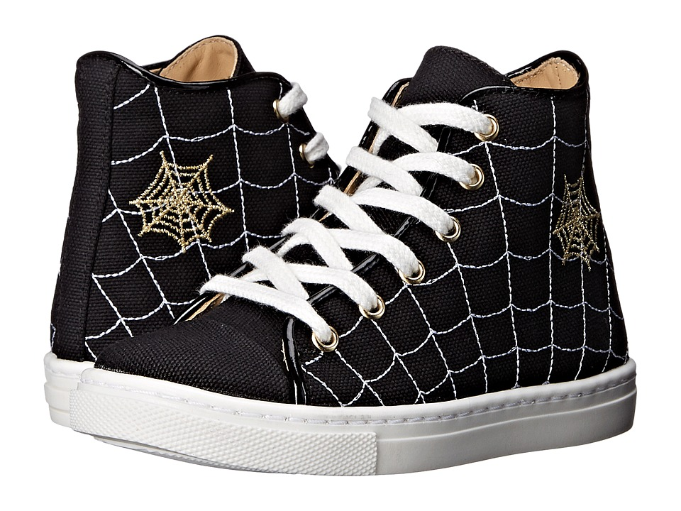 Charlotte Olympia - Incy Web High-Tops (Toddler/Little Kid) (Black Canvas) Women's Lace up casual Shoes