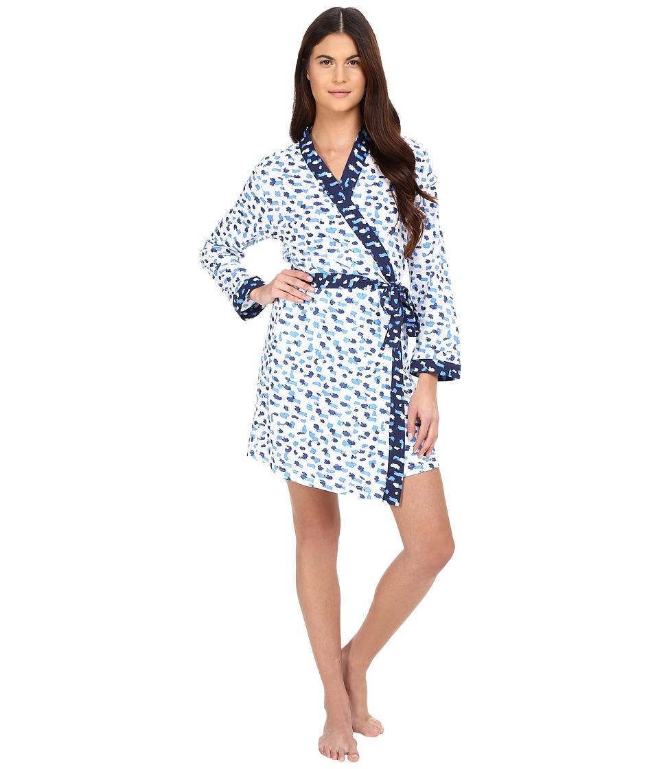 Oscar de la Renta - Printed Luxe Pima Cotton Jersey Wrap (Blue Print) Women's Pajama