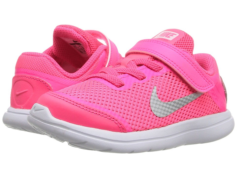 Nike Kids - Flex 2016 RN (Infant/Toddler) (Pink Blast/Black/Hyper Pink/Metallic Silver) Girls Shoes