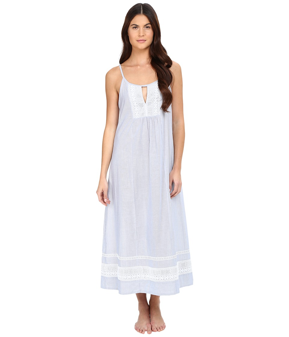 Oscar de la Renta - Yarn Dye Stripe Cotton Woven Long Gown (White/Blue Stripe) Women's Pajama