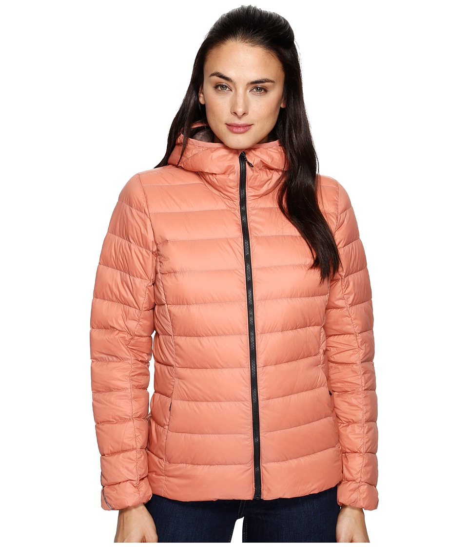 adidas Outdoor - Light Down Hooded Jacket (Raw Pink) Women's Coat