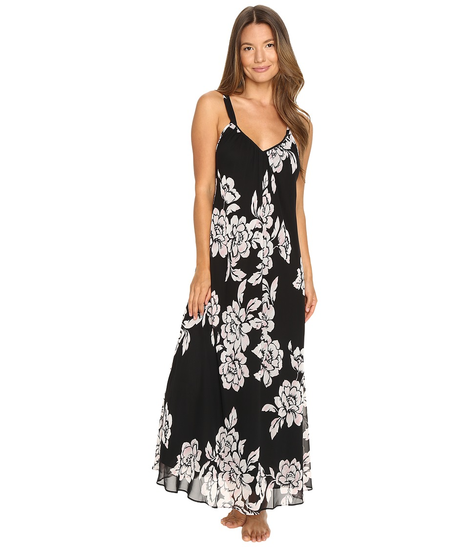 Oscar de la Renta - Printed Silky Georgette Long Gown (Black/Pink Brush Accent Floral) Women's Pajama