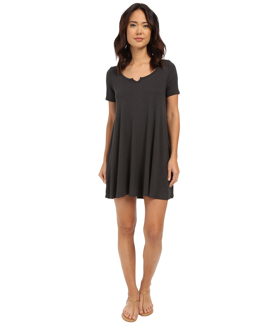 Culture Phit - Jennie Ribbed V-Neck Dress (Charcoal) Women's Dress