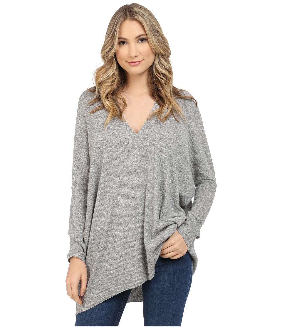 Culture Phit - Jana Ribbed V-Neck Sweater (Heather Grey) Women's Sweater