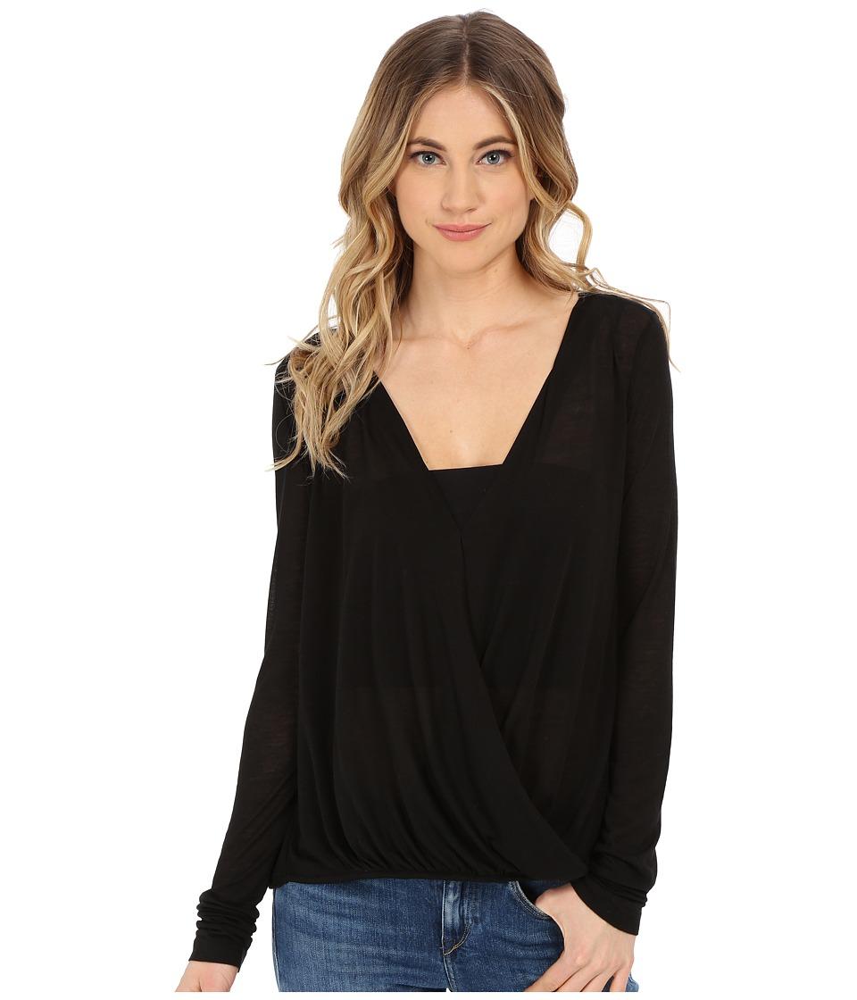 Culture Phit - Blythe Long Sleeve Crossed Top (Black) Women's Clothing