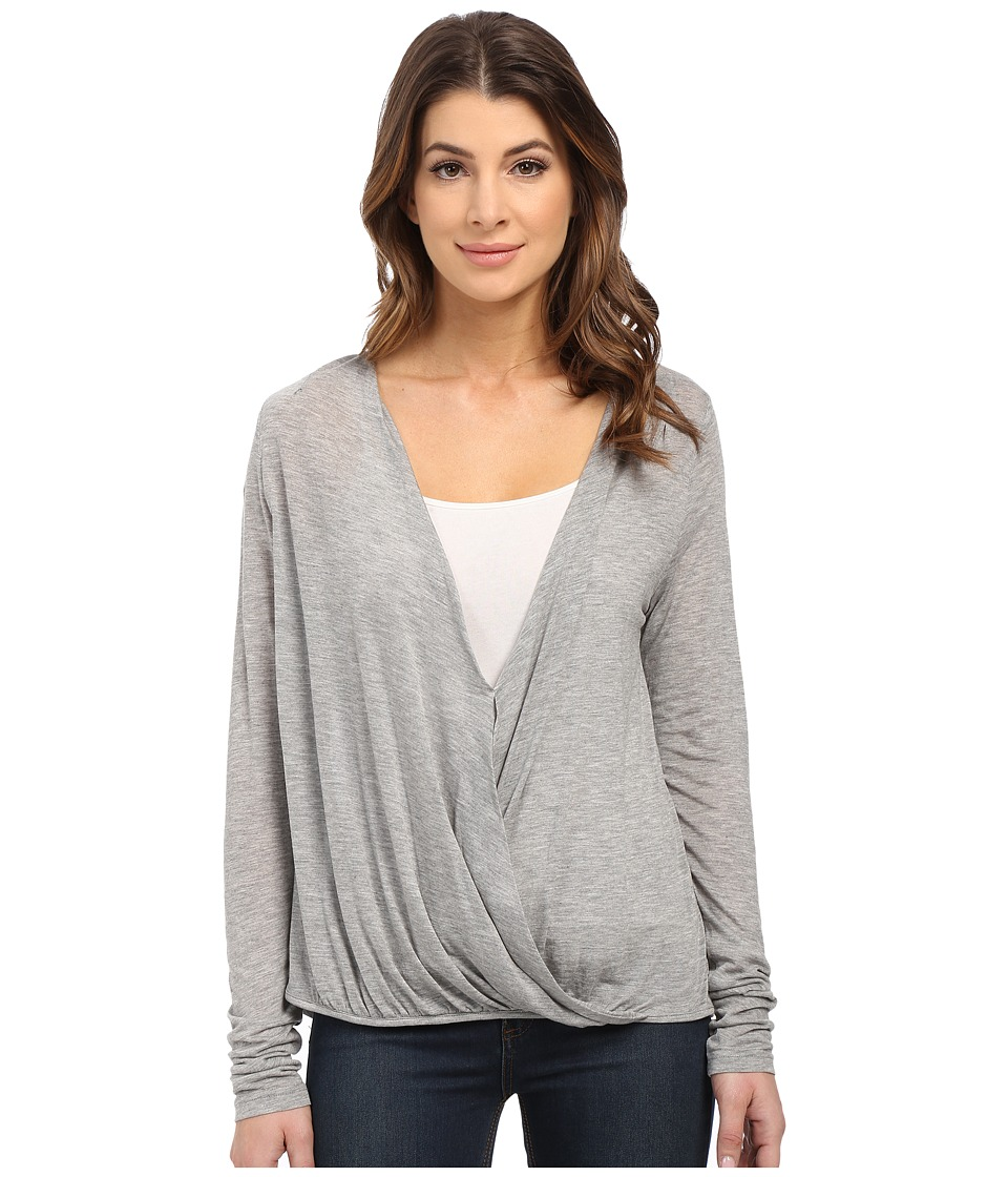 Culture Phit - Blythe Long Sleeve Crossed Top (Heather Grey) Women's Clothing