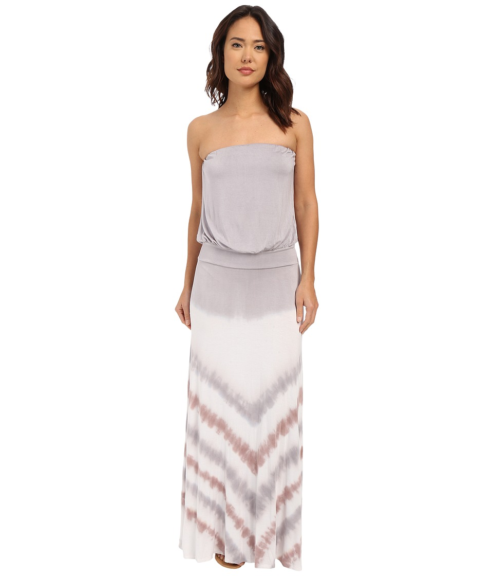 Culture Phit Erin Strapless Tie-Dye Maxi Dress (Taupe) Women