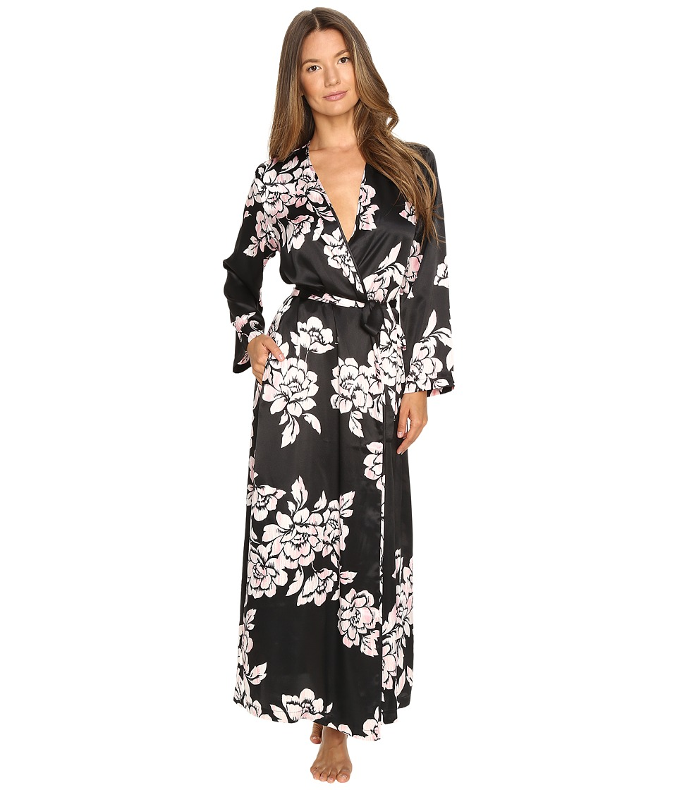 Oscar de la Renta - Printed Silky Charmuese Long Robe (Black/Pink Brush Accent Floral) Women's Robe