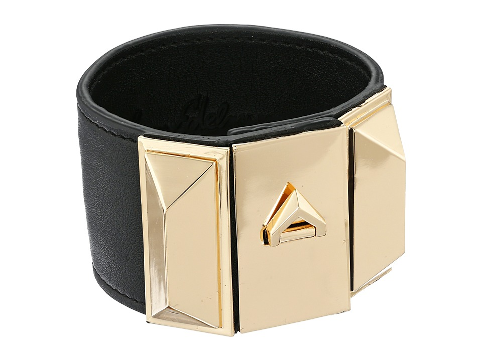 Sam Edelman - Wide V Lock Leather Bracelet (Black/Gold) Bracelet
