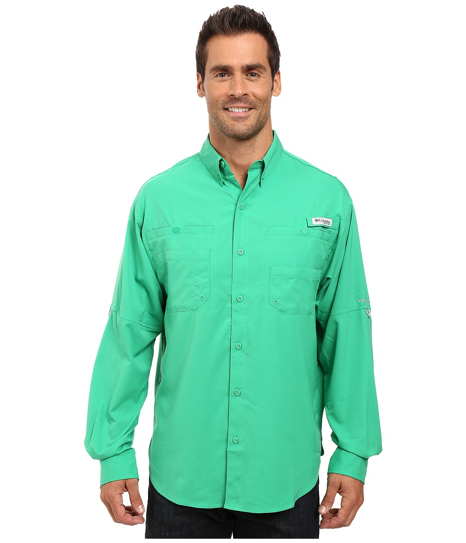 Columbia - Tamiami II L/S (Dark Lime) Men's Long Sleeve Button Up