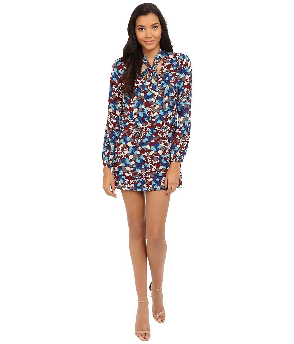 Brigitte Bailey - Jacklyn Tie-Front Long Sleeve Dress (Blue/Wine) Women's Dress