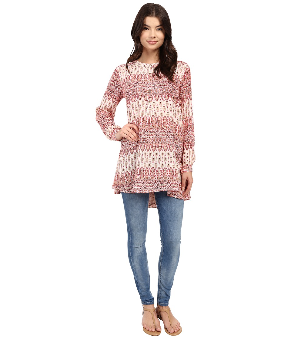 Brigitte Bailey - Helen Printed Button Up Tunic (Pink) Women's Blouse