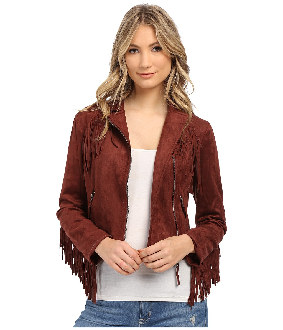Brigitte Bailey - Eileen Fringe Micro Suede Jacket (Wine) Women's Coat