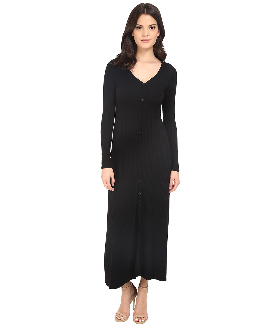 Brigitte Bailey - Daliah Ribbed Button Up Maxi Dress (Black) Women's Dress