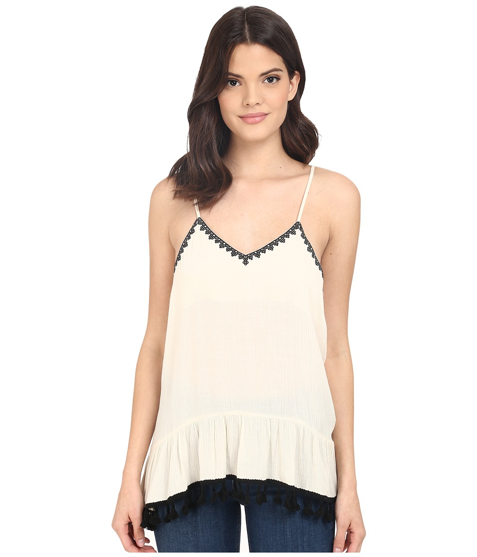 Brigitte Bailey - Ballard Embroidered Drop Spaghetti Strap Tank Top (Cream/Black) Women's Sleeveless