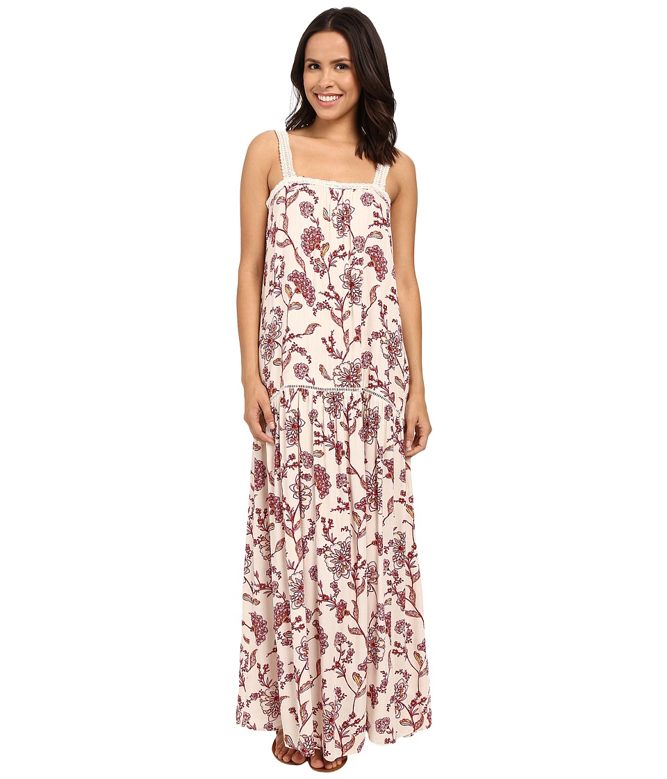 Brigitte Bailey - Candice Floral Maxi Dress with Lace Trim (Beige/Burgundy) Women's Dress