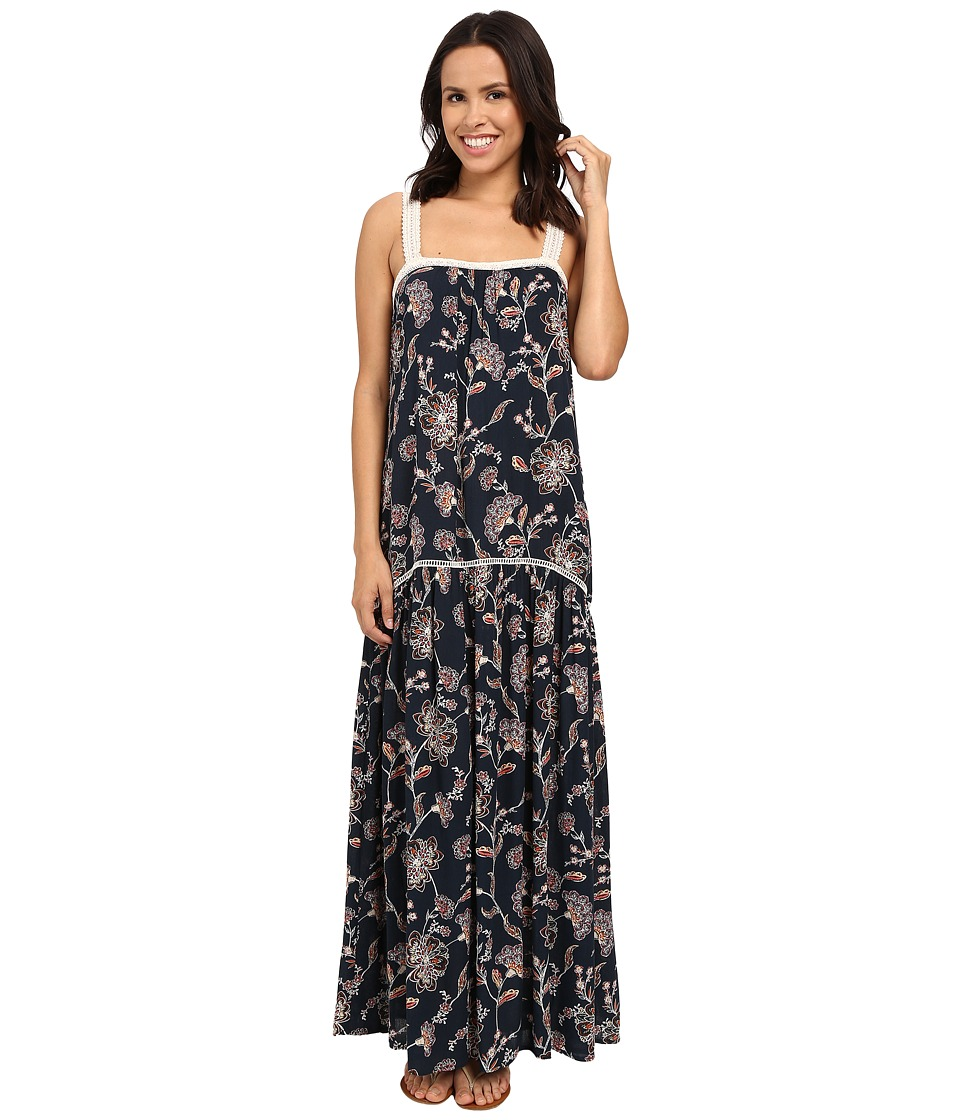 Brigitte Bailey - Candice Floral Maxi Dress with Lace Trim (Navy/Multi) Women's Dress