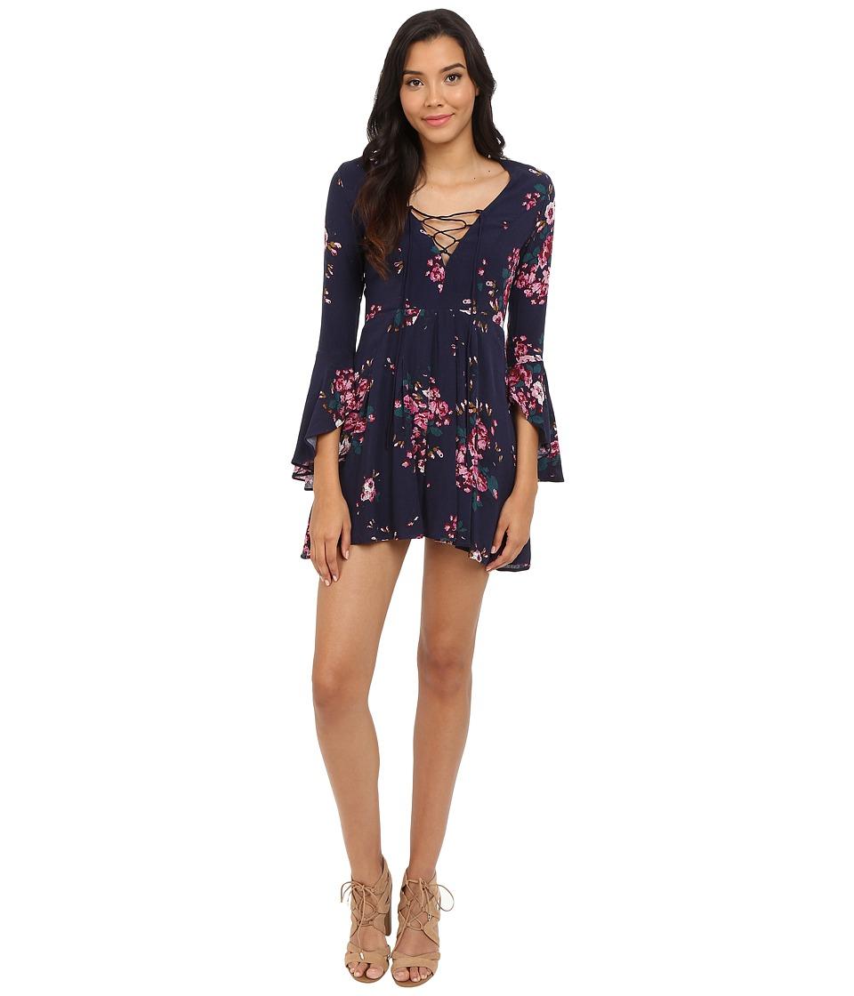 Brigitte Bailey - Gia Lace-Up Floral Print Dress (Black/Multi) Women's Dress